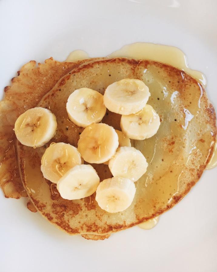 Banana crepes & honey.