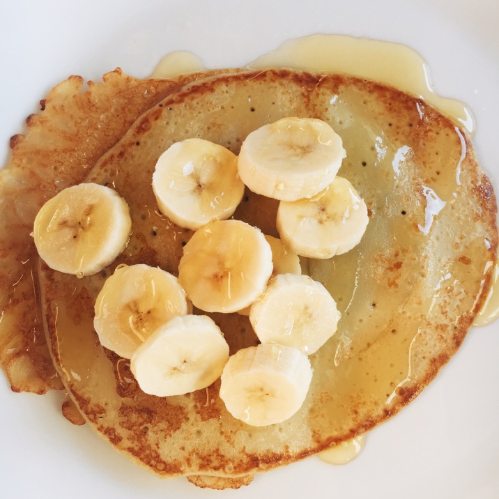 Banana crepes & honey.