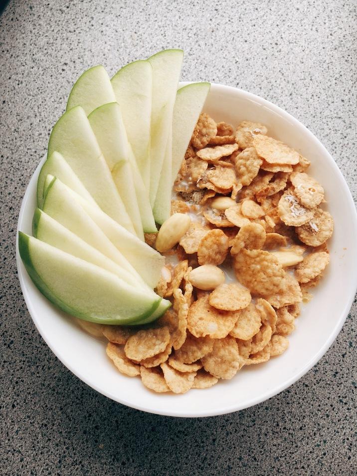 Cereal, fruit & soy milk.