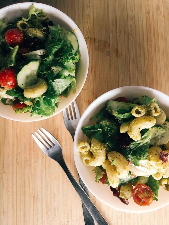 Pesto pasta salad.