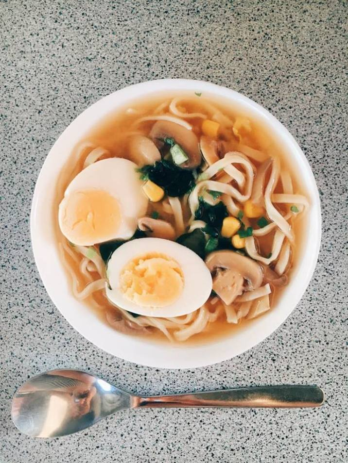 Miso ramen with boiled eggs.