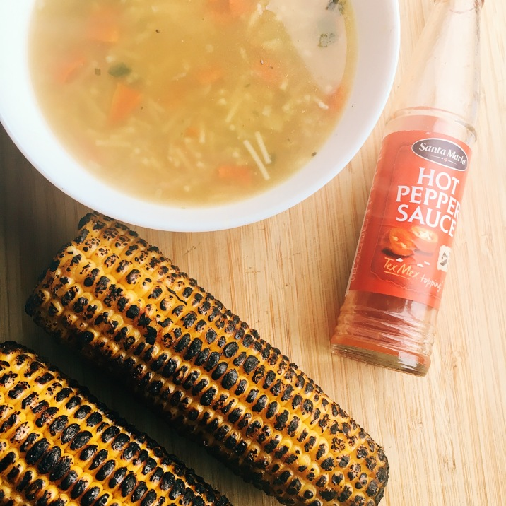 Cuppa soup & grilled corn.